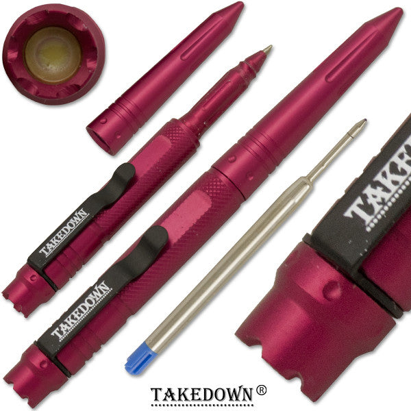 6 Inch TAKEDOWN Tactical Pen w/ Clip- Strawberry Red Finish, , Panther Trading Company- Panther Wholesale