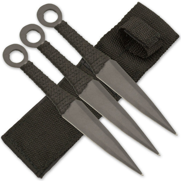 6.5 Inch Throwing Knife Set (Set of 3) - Black, , Panther Trading Company- Panther Wholesale