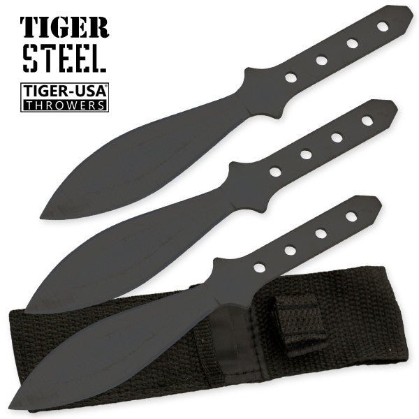 3 PC Tiger Steel 440 Stainless Steel Throwing Knives, , Panther Trading Company- Panther Wholesale