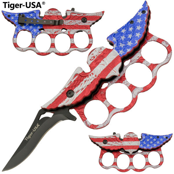 Tiger-USA American Flag Eagle Knuckle Knife, , Panther Trading Company- Panther Wholesale