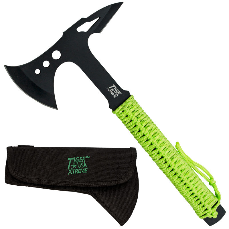 Tiger-USA Tactical Tomahawk - Undead Green Paracord, , Panther Trading Company- Panther Wholesale