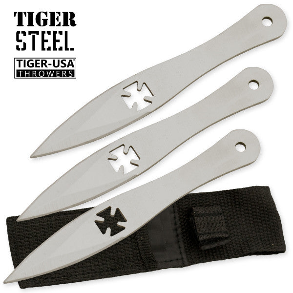 3 PC Tiger Steel Silver Throwing Knife Set, , Panther Trading Company- Panther Wholesale