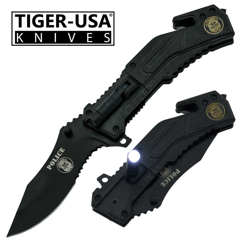 Tiger-USA Trigger Action Tactical Knife, , Panther Trading Company- Panther Wholesale