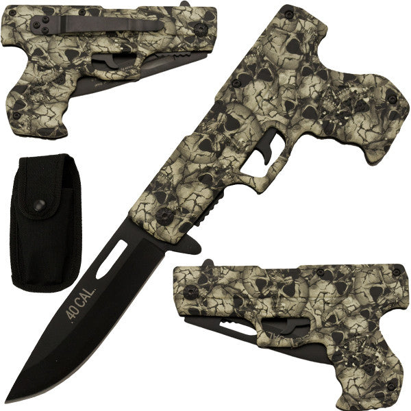 White Skull Camo Trigger Action Gun Pistol Knife, , Panther Trading Company- Panther Wholesale