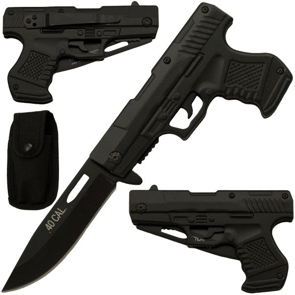 8.75 Inch Trigger Action Gun Pistol Knife - Black, , Panther Trading Company- Panther Wholesale