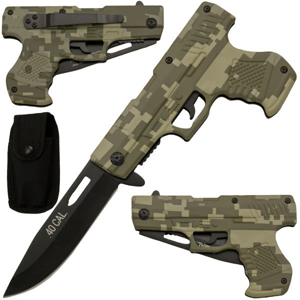 8 Inch Trigger Action Gun Pistol Knife - Camo 1, , Panther Trading Company- Panther Wholesale