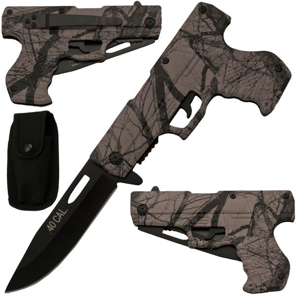 8 Inch Trigger Action Gun Pistol Knife - Camo 3, , Panther Trading Company- Panther Wholesale