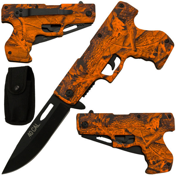 8 Inch Trigger Action Gun Pistol Knife - Camo 6, , Panther Trading Company- Panther Wholesale