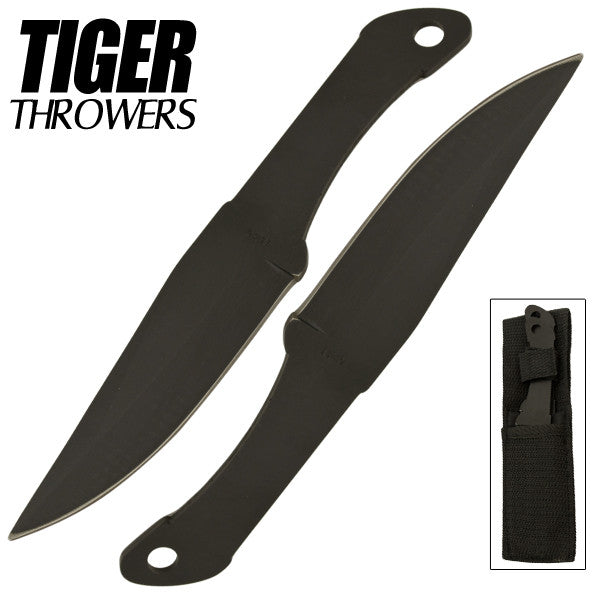 Tiger Thrower - Throwing Knives - Black - Set of 2 - 6 Inch - Comes with Sheath