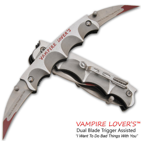 Vampire Lover's Trigger Action Dual Knife-Silver, , Panther Trading Company- Panther Wholesale