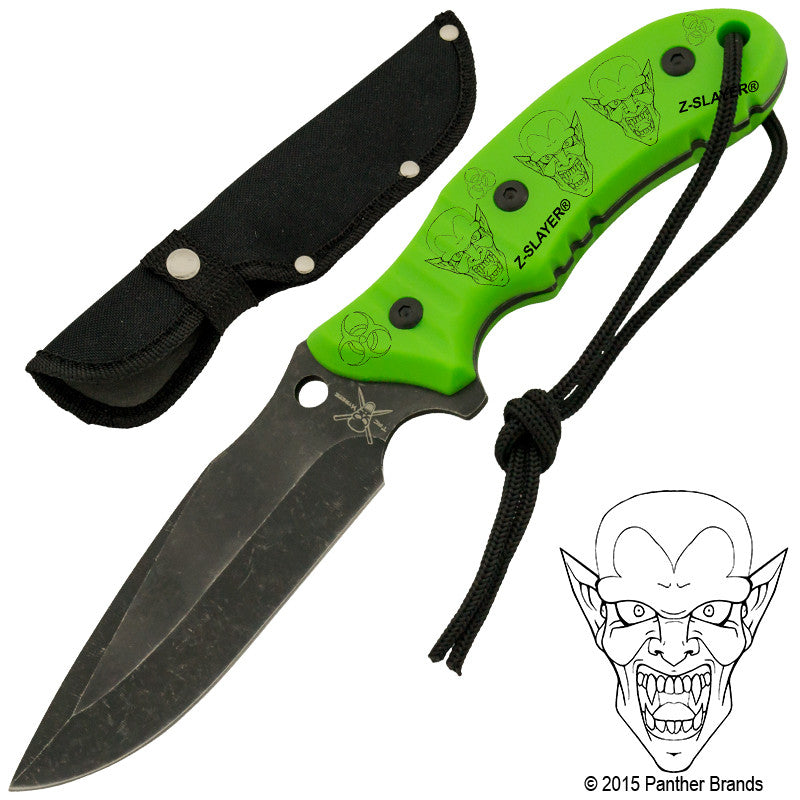 Vampire Biohazard Green Stonewashed Blade Full Tang Knife, , Panther Trading Company- Panther Wholesale
