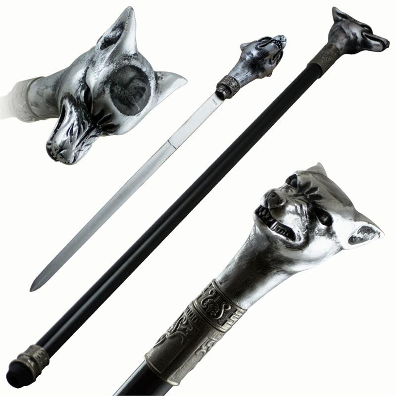 Wolf Head Steel Cane Hidden Sword, , Panther Trading Company- Panther Wholesale