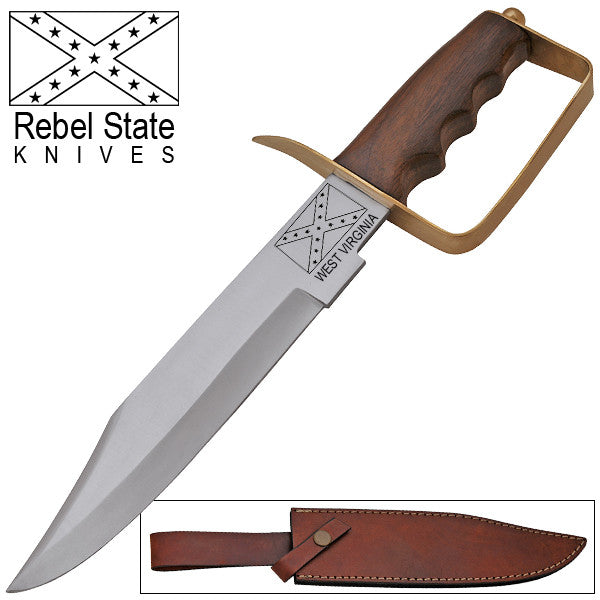 West Virginia Rebel States Red Deer Bowie Knife Wooden Handle, , Panther Trading Company- Panther Wholesale