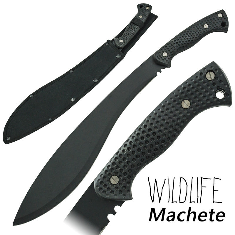 Wildlife Kukri Machete Full Tang Textured Grip Handle, , Panther Trading Company- Panther Wholesale