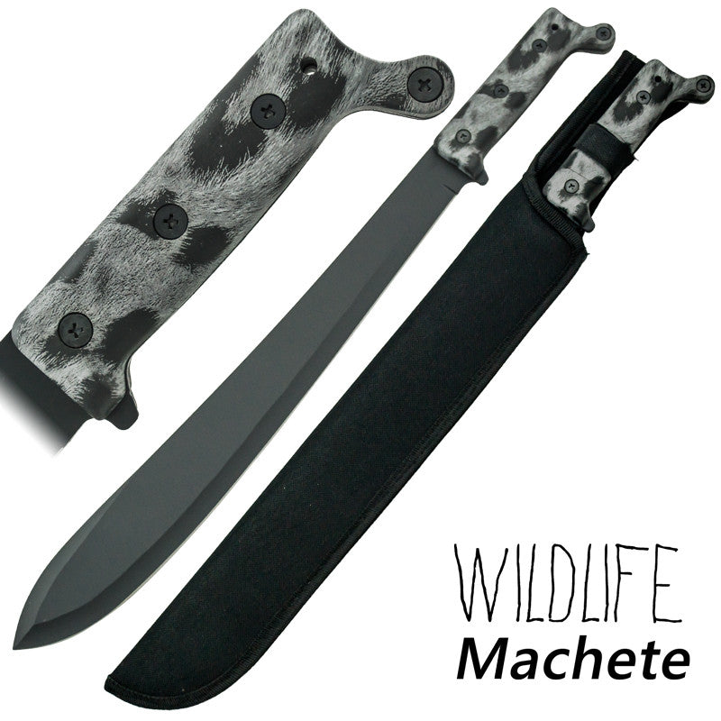 Wildlife Machete Full Tang Snow Panther Finish Handle, , Panther Trading Company- Panther Wholesale