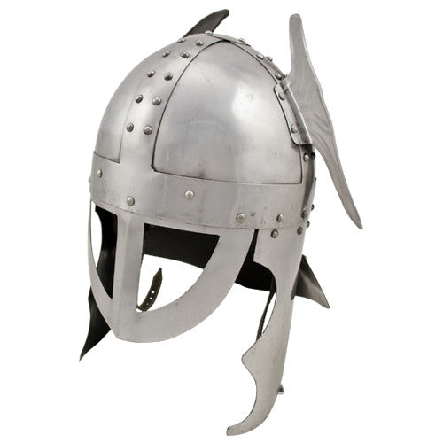 Winged Medieval Carbon Steel Knights Helmet, , Panther Trading Company- Panther Wholesale