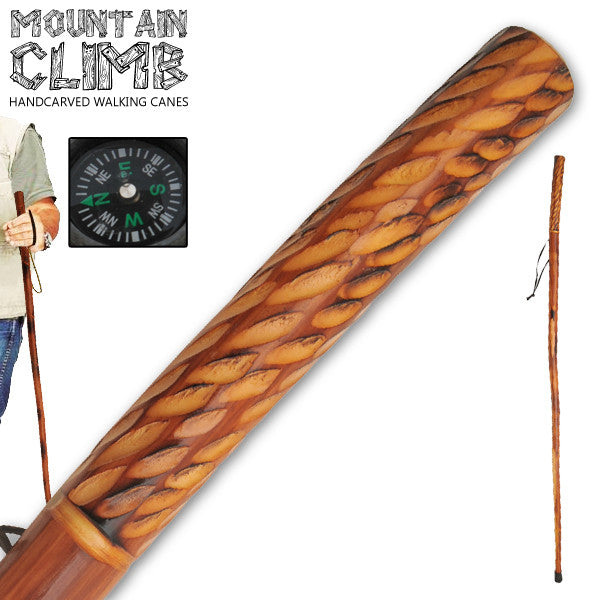 55 Inch Hand Carved Walking Cane - Raindrops Alternate W/ Compass, , Panther Trading Company- Panther Wholesale