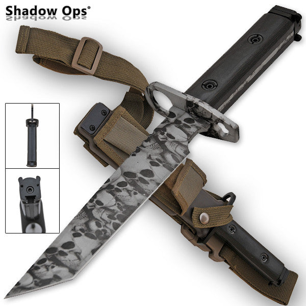 Heavy Duty Shadow Ops Bayonet Undead Skull - Tanto [Grey], , Panther Trading Company- Panther Wholesale