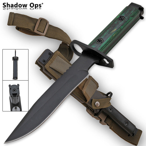 Heavy Duty Shadow Ops Bayonet Green Handle - Drop Point, , Panther Trading Company- Panther Wholesale