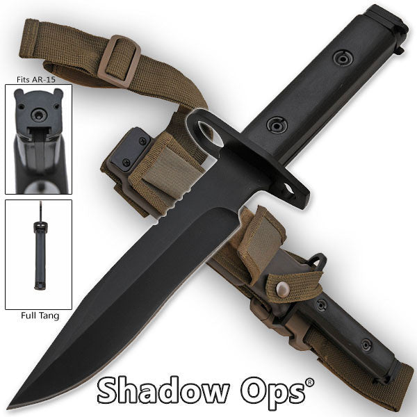 Heavy Duty Shadow-Ops Bayonet - Black, , Panther Trading Company- Panther Wholesale