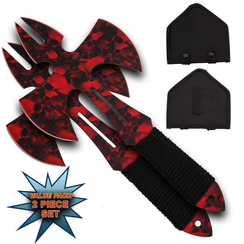 Red Skull Medieval Style Throwing Axe - Comes With Wearable Sheath, , Panther Trading Company- Panther Wholesale