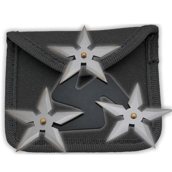 3 Blade Spinning Stars - Black & Silver, , Panther Trading Company- Panther Wholesale
