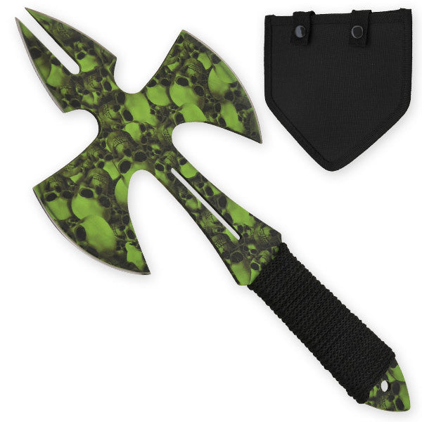 Green Skull Medieval Style Throwing Axe - Comes With Wearable Sheath
