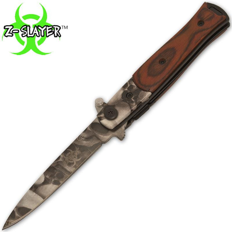 Z-Slayer Trigger Action Knife With Skull Surgical Steel Blade And Wood Handle, , Panther Trading Company- Panther Wholesale