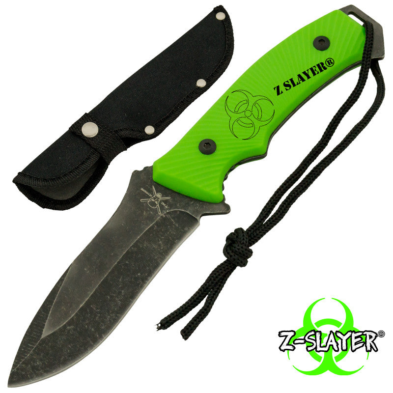 Z-Slayer Biohazard Green Stonewashed Blade Full Tang Knife, , Panther Trading Company- Panther Wholesale