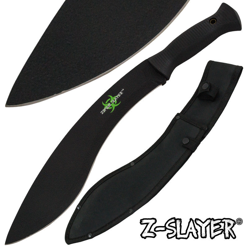 Z-Slayer Undead Blood Gurkha Kukri Full Tang Machete - Black, , Panther Trading Company- Panther Wholesale