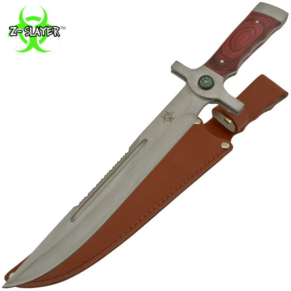 Z-Slayer Survival Knife W Real Leather Sheath & Compass, , Panther Trading Company- Panther Wholesale
