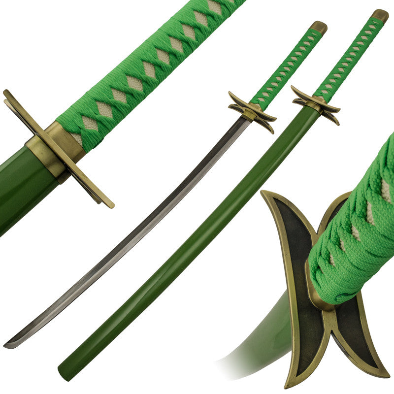 Zombified Green Katana Sword with Scabbard, , Panther Trading Company- Panther Wholesale