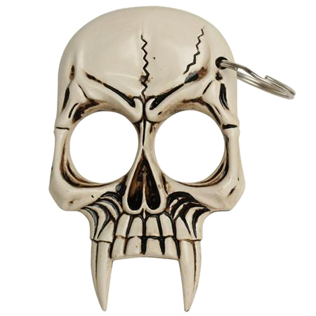 Vampire Skull Self Defense Keychain Natural Bone, , Panther Trading Company- Panther Wholesale