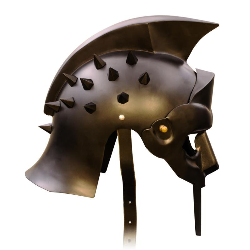 Roman Arena Spiked Gladiator Helmet (All Black), , Panther Trading Company- Panther Wholesale