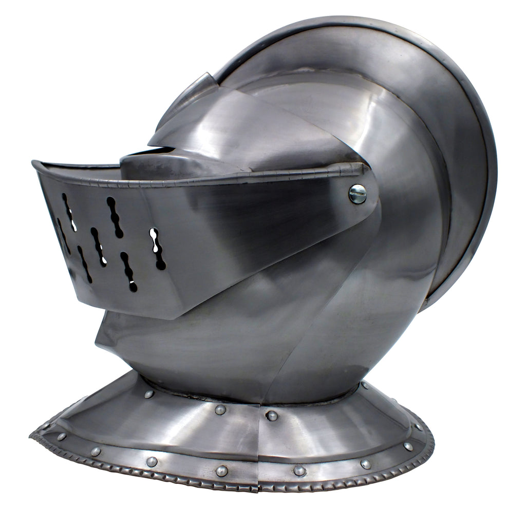 Medieval European Knight's Helmet with Visor and Leather Liner