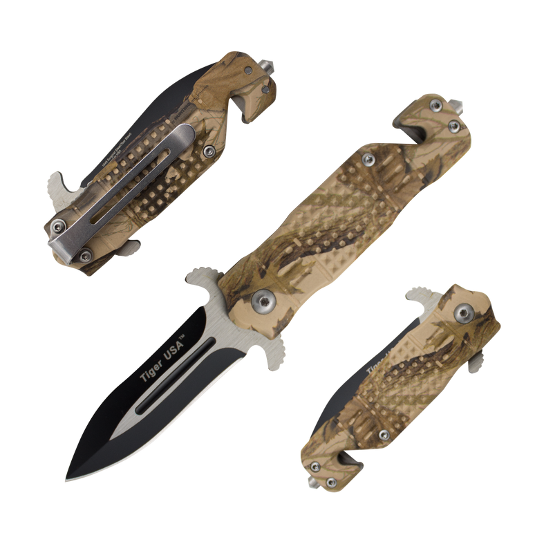 Forest Scorpion- 6 Inch Tiger-USA Trigger Action Knife - Brown Tree Camo