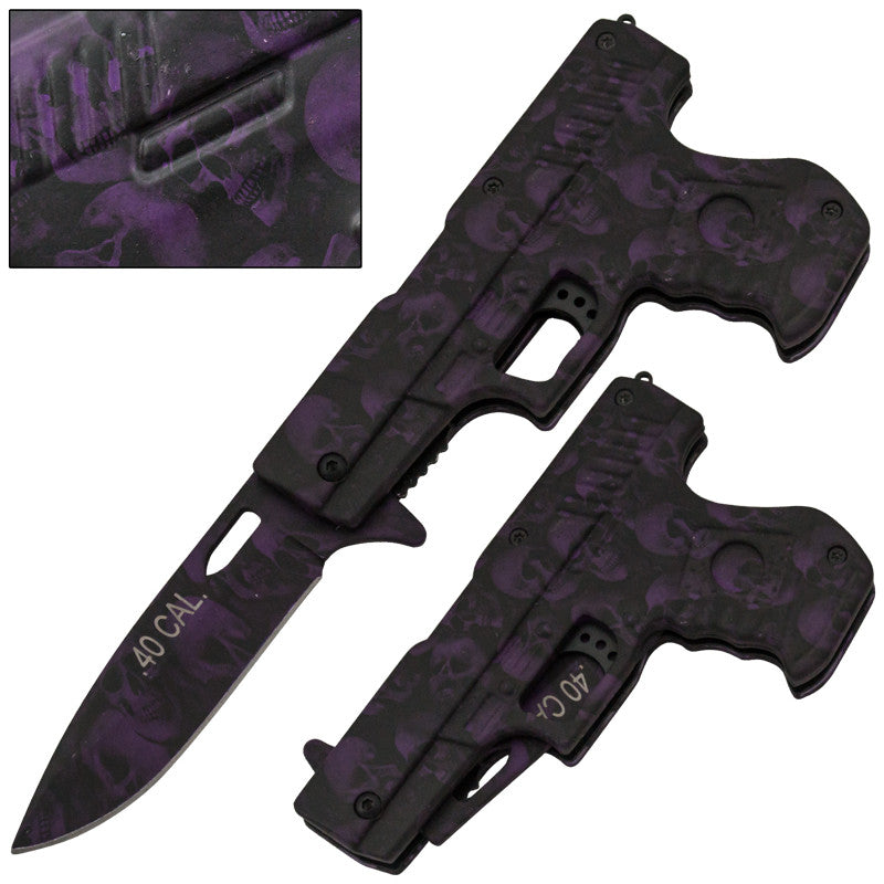 .40 Cal Trigger Action Knife - Purple Skull, , Panther Trading Company- Panther Wholesale