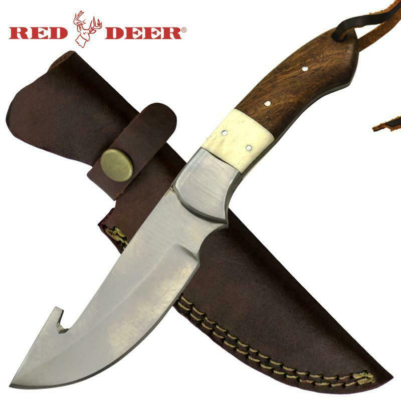 "Red Deer® 8.5"" Wood and Bone Handle Gut Hook Knife Leather Sheath"