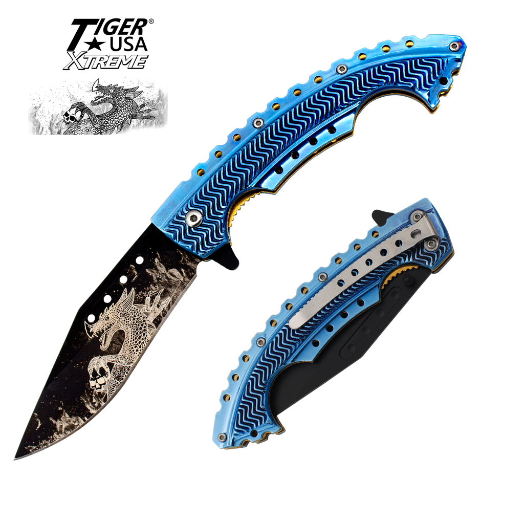 Blue Fire Dragon Strike Trigger Action Knife