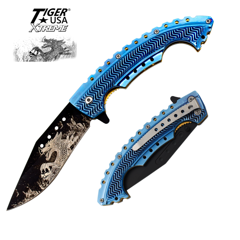 Blue Fire Dragon Strike Trigger Action Knife, , Panther Trading Company- Panther Wholesale