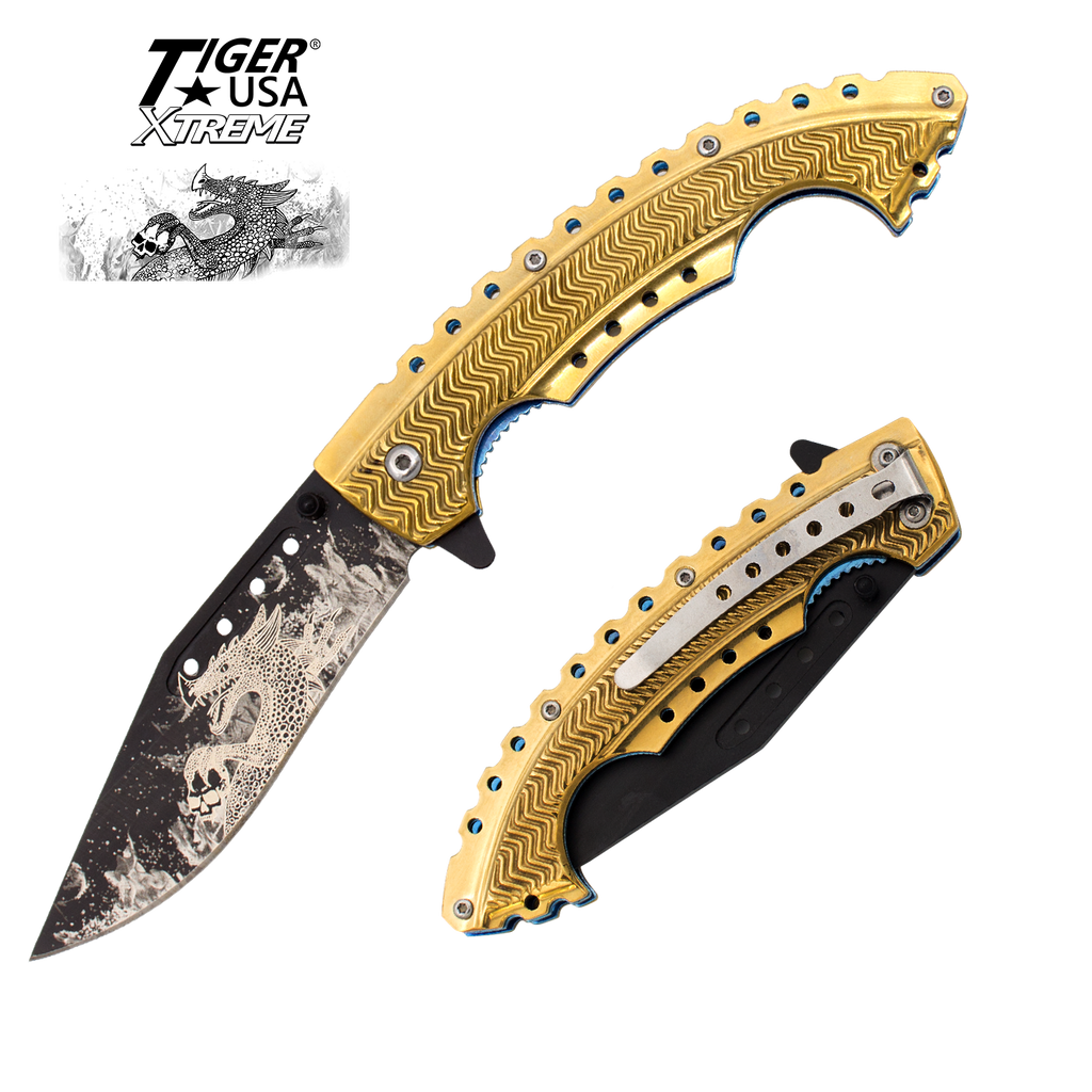 Gold Fire Dragon Trigger Action Knife, , Panther Trading Company- Panther Wholesale