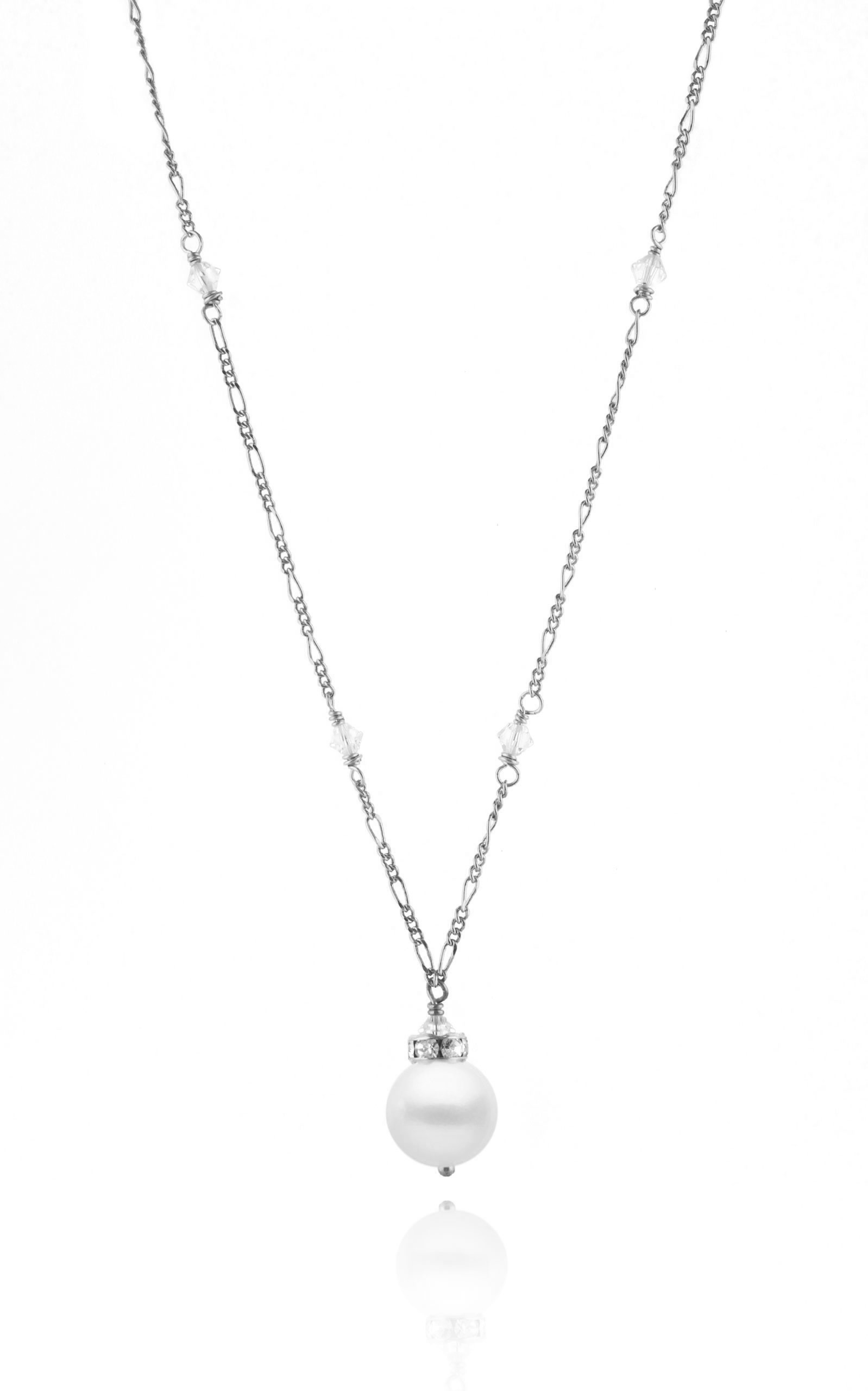 The Eloise Necklace Necklaces Bekah Anne Accessories Rhodium/Sterling Silver 10-11mm 17-18""