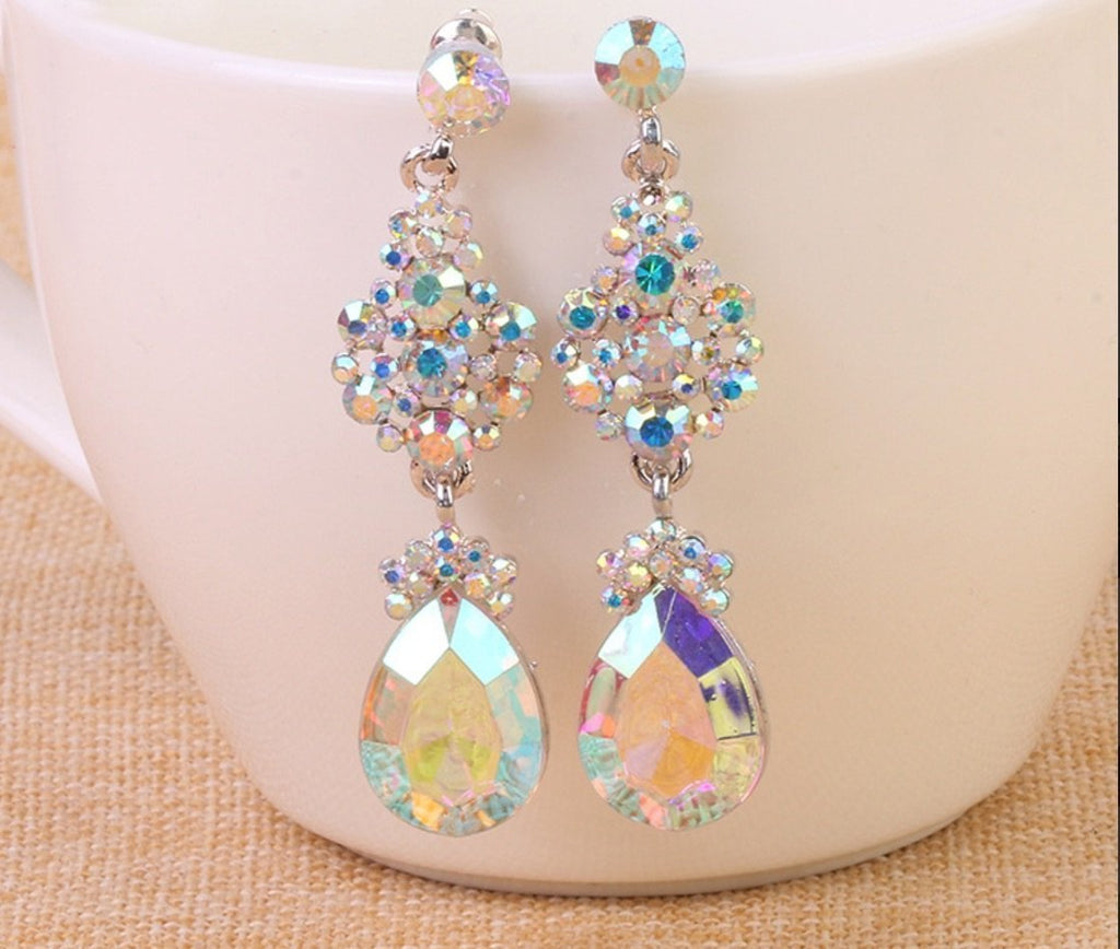 AB crystal pageant earrings. - jovani-dress