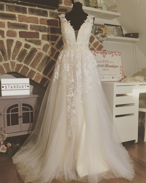 Beautiful Kylie Wedding Prom Pageant Dress in Ivory Nude