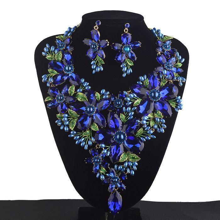 Luxury rhinestone crystal necklace and earrings pageant set in blue, red, pink, purple and green. - jovani-dress