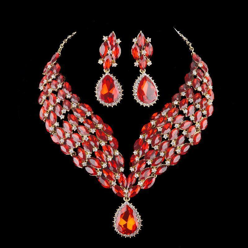Luxury cubic zirconia necklace and earrings pageant set in red, blue, AB, silver, pink and more.
