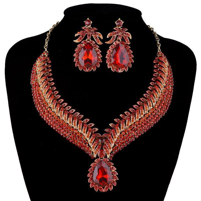 Luxury rhinestone crystal necklace and earrings pageant set in red, blue, pink, brown, multi, purple and more.