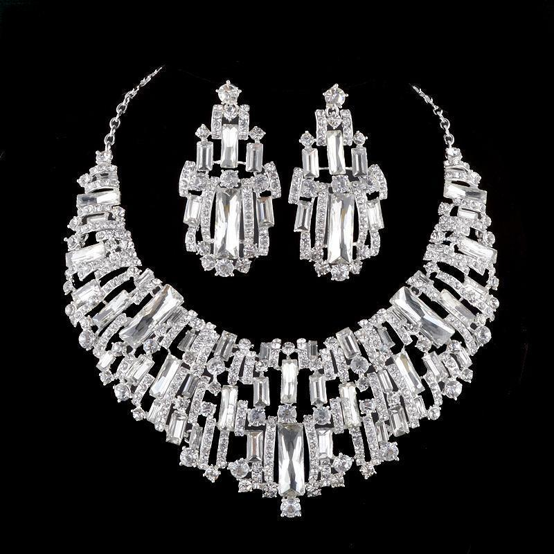 Luxury rhinestone crystal necklace and earrings pageant set in silver and AB.