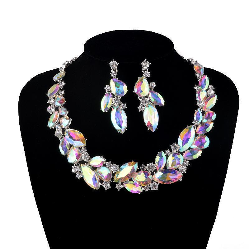 Luxury rhinestone AB crystal necklace and earrings pageant and prom set.