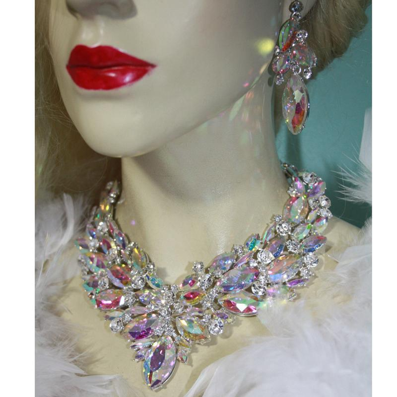Luxury rhinestone AB crystal necklace and earrings pageant set.